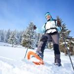Hiker walks in snow forest